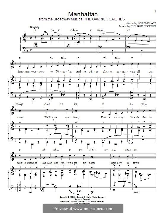 Manhattan: Für Stimme und Klavier (oder Gitarre) by Richard Rodgers