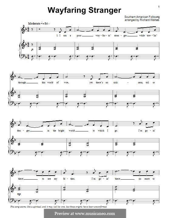Wayfaring Stranger: Für Stimme und Klavier (oder Gitarre) by folklore