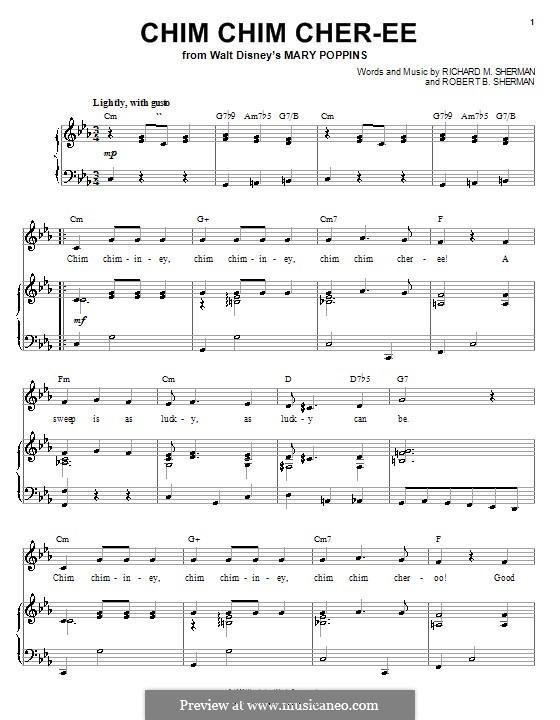 Chim Chim Cher-ee (from Mary Poppins): Für Stimme und Klavier (oder Gitarre) by Richard M. Sherman, Robert B. Sherman