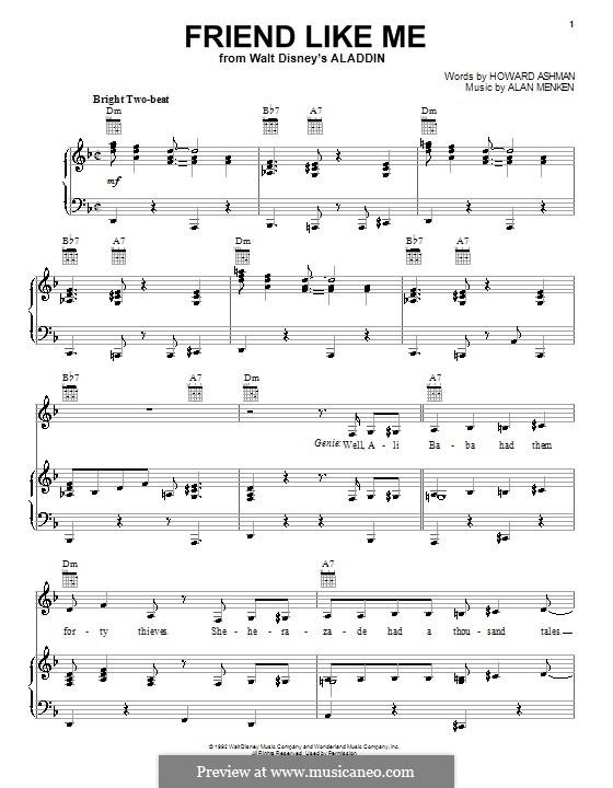 Friend Like Me (from Aladdin): Für Stimme und Klavier (oder Gitarre) by Alan Menken