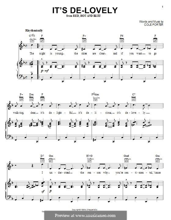 It's De-Lovely: Für Stimme und Klavier (oder Gitarre) by Cole Porter