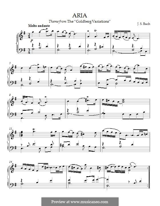 Goldberg-Variationen, BWV 988: Arie, für Klavier by Johann Sebastian Bach