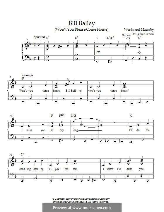 Bill Bailey, Won't You Please Come Home: Für Klavier by Hughie Cannon