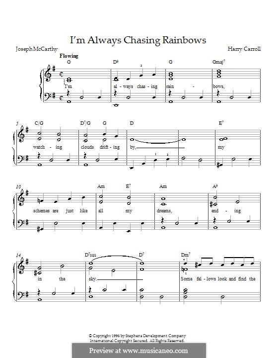 I'm Always Chasing Rainbows: Für Klavier by Harry Carroll