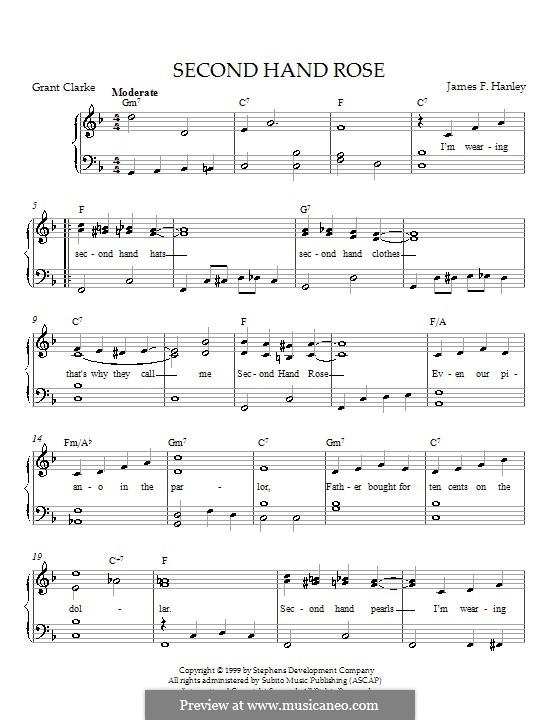 Second Hand Rose (from Second Avenue): Für Klavier by James Frederick Hanley