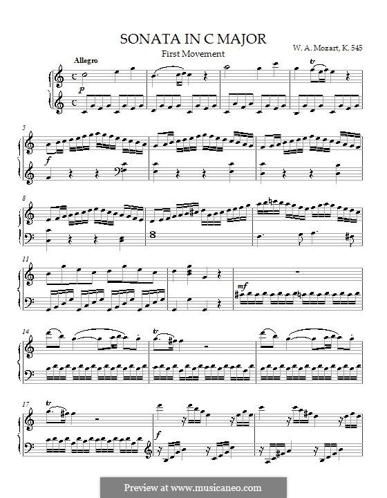 Sonate für Klavier Nr.16 in C-Dur, K.545: Teil I by Wolfgang Amadeus Mozart