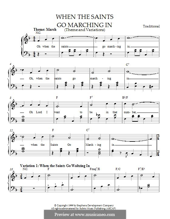 When the Saints Go Marching in: Theme and variations, for easy piano by folklore