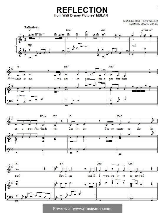Reflection (from Disney's Mulan): Für Stimme und Klavier oder Gitarre (G-Dur) by Matthew Wilder