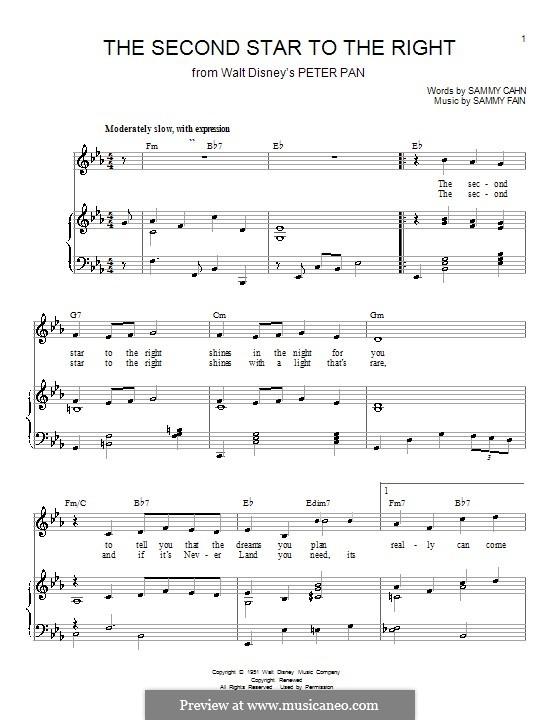 The Second Star to the Right (from Peter Pan): Für Stimme und Klavier (oder Gitarre) by Sammy Fain