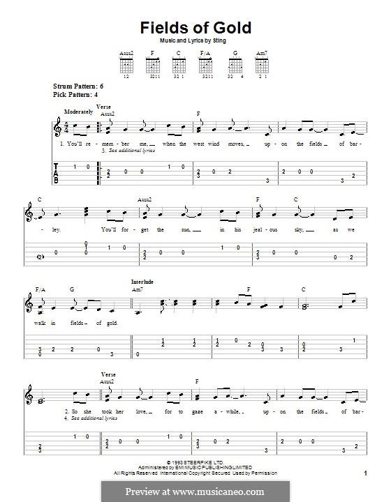 Fields of Gold: Für Gitarre (leicht) by Sting