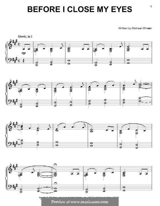 Before I Close My Eyes: Für Klavier by Michael Whalen