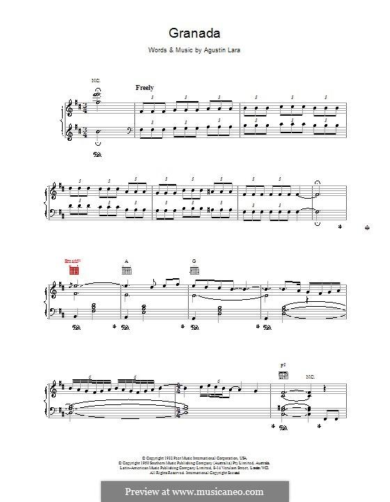 Granada: Für Stimme und Klavier (oder Gitarre) by Agustin Lara