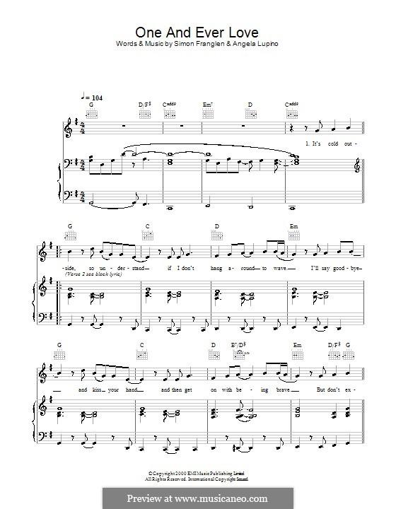 One and Ever Love (Gareth Gates): Für Stimme und Klavier (oder Gitarre) by Angela Lupino, Simon Franglen