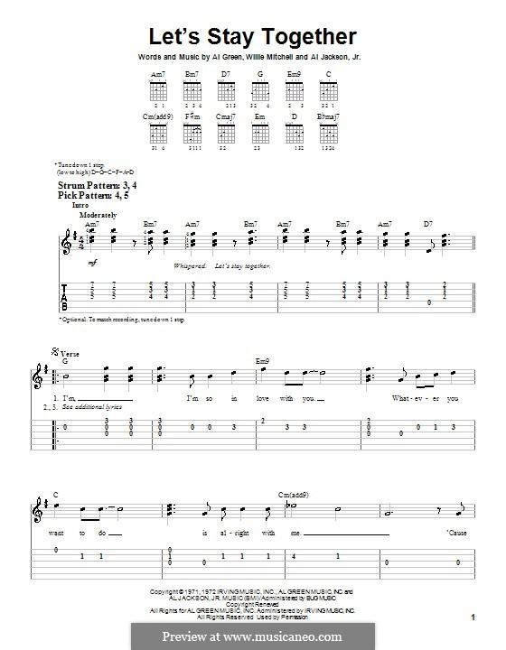 Let's Stay Together: Für Gitarre (Sehr leichte Fassung) by Willie Mitchell, Al Jackson Jr.