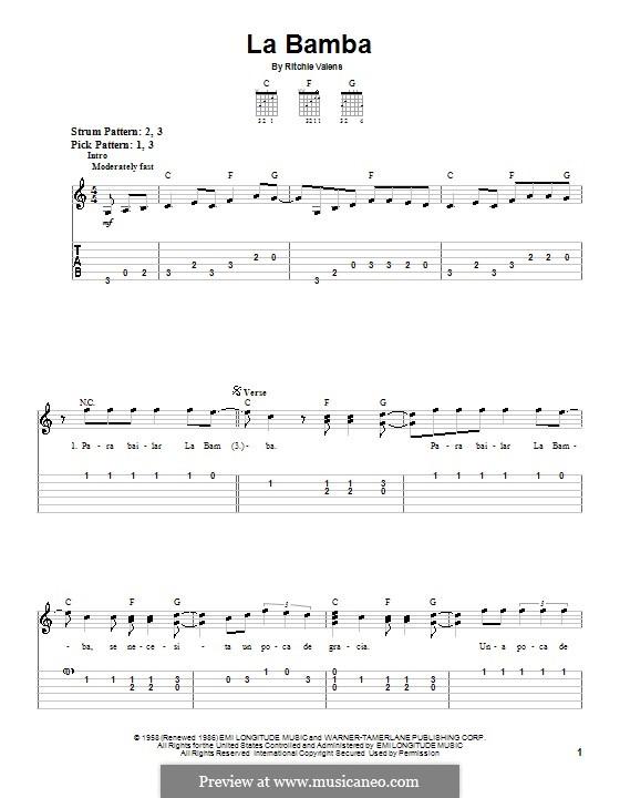 La Bamba: Für Gitarre (Sehr leichte Fassung) by folklore, Ritchie Valens