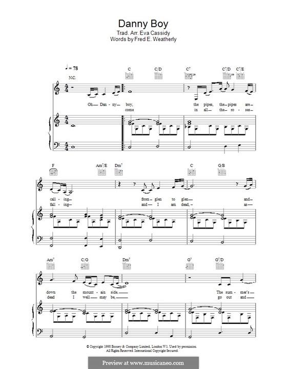 Danny Boy (Printable Scores): Für Stimme und Klavier (oder Gitarre) by folklore