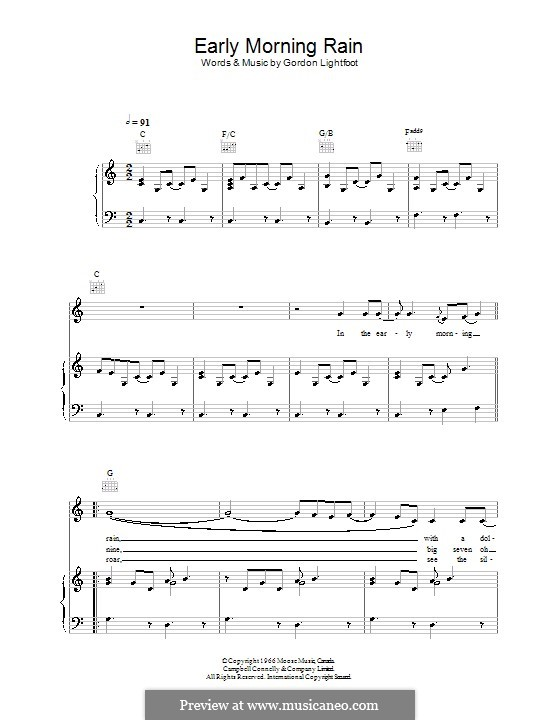 Early Morning Rain (Eva Cassidy): Für Stimme und Klavier (oder Gitarre) by Gordon Lightfoot