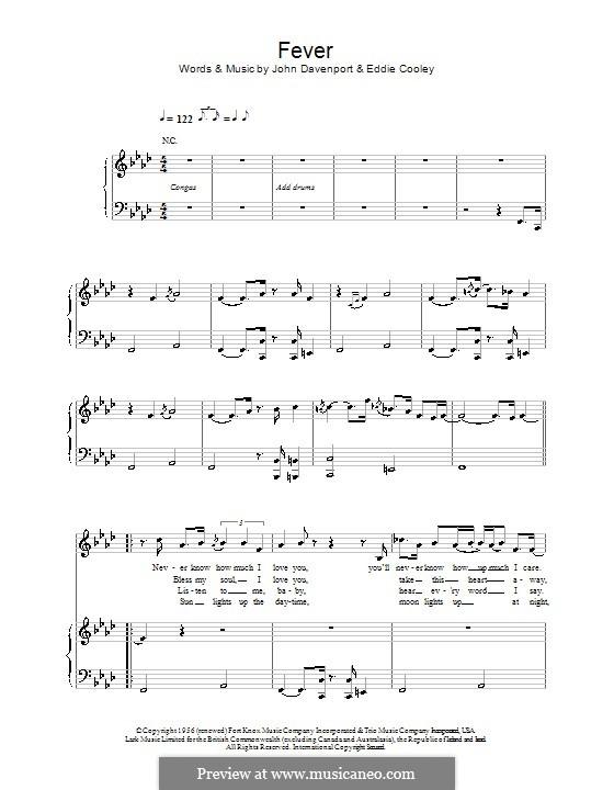 Fever: Für Stimme mit Klavier oder Gitarre (Eva Cassidy) by Eddie Cooley, John Davenport