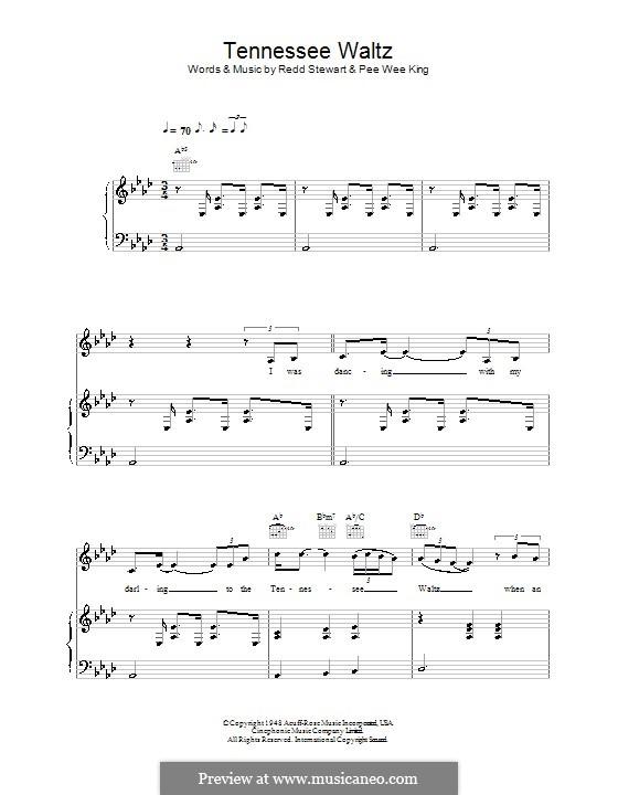 Tennessee Waltz (Patty Page): Für Stimme und Klavier (oder Gitarre) by Pee Wee King, Redd Stewart
