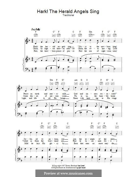 Hark! The Herald Angels Sing: Für Stimme und Klavier (oder Gitarre) by folklore