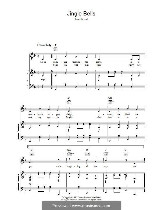 Jingle Bells (Printable scores): Für Stimme und Klavier (oder Gitarre) by James Lord Pierpont