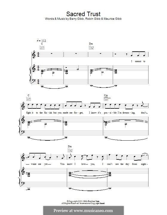 Sacred Trust (One True Voice): Für Stimme und Klavier (oder Gitarre) by Barry Gibb, Maurice Gibb, Robin Gibb
