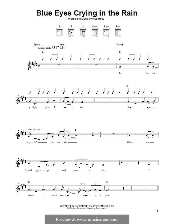 Blue Eyes Crying in the Rain (Willie Nelson): Für Gitarre (mit Schlagmuster) by Fred Rose