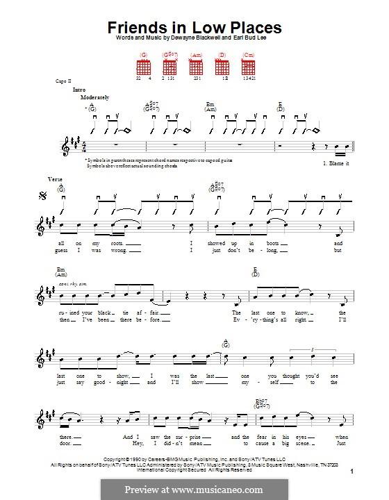 Friends in Low Places (Garth Brooks): Für Gitarre (Sehr leichte Fassung) by Dewayne Blackwell, Earl Bud Lee