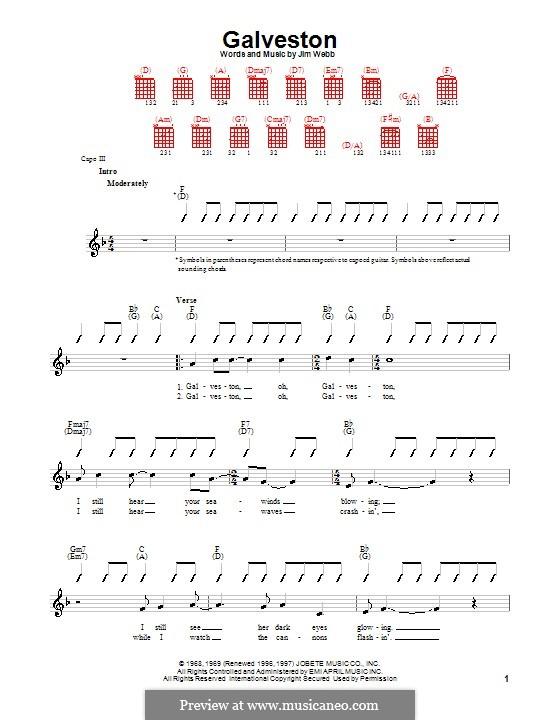 Galveston (Glen Campbell): Für Gitarre (mit Schlagmuster) by Jimmy Webb