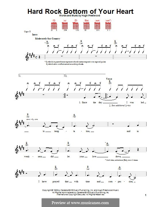 Hard Rock Bottom of Your Heart (Randy Travis): Für Gitarre (mit Schlagmuster) by Hugh Prestwood