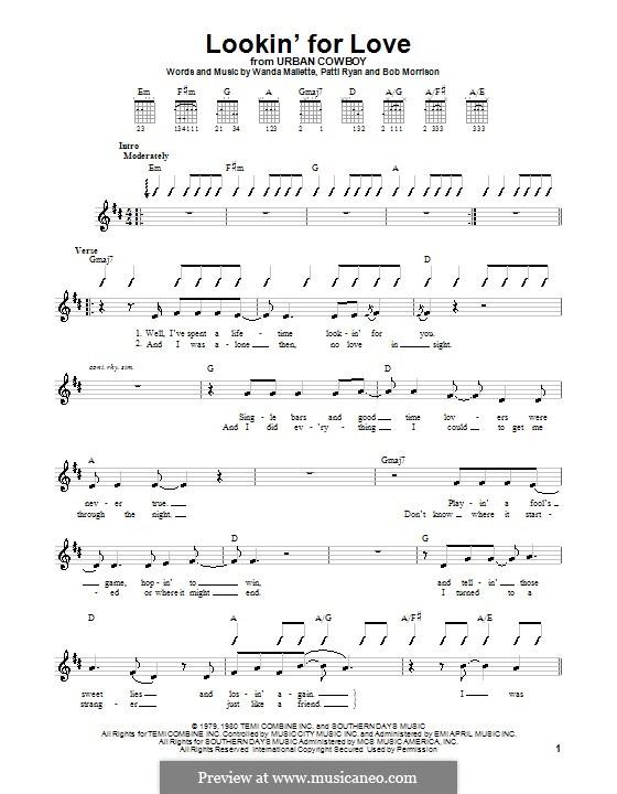 Lookin' for Love (Johnny Lee): Für Gitarre (Sehr leichte Fassung) by Bob Morrison, Patti Ryan, Wanda Mallette