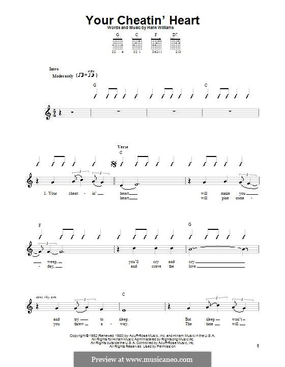Your Cheatin' Heart: Für Gitarre (Sehr leichte Fassung) by Hank Williams