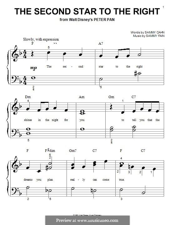 The Second Star to the Right (from Peter Pan): Für Klavier (sehr leichte Fassung) by Sammy Fain