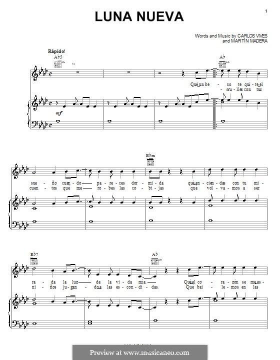Luna Nueva (Carlos Vives): Für Stimme und Klavier (oder Gitarre) by Martín Madera