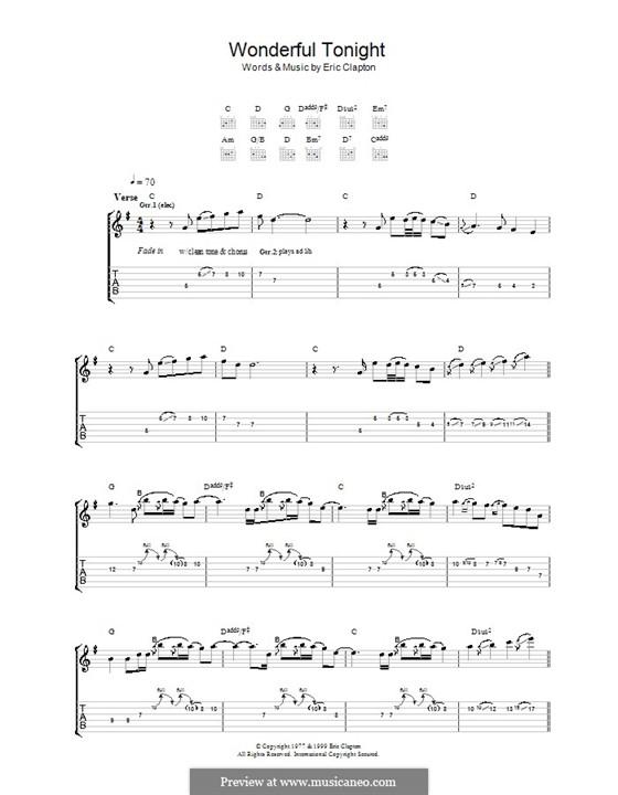 Wonderful Tonight: Für Gitarre mit Tabulatur by Eric Clapton
