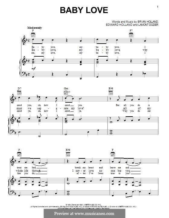 Baby Love (The Supremes): Für Stimme und Klavier (oder Gitarre) by Brian Holland, Edward Holland Jr., Lamont Dozier