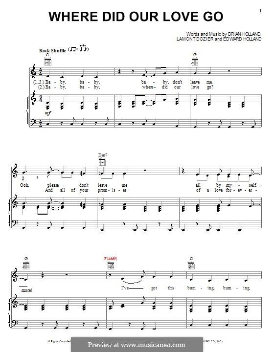 Where Did Our Love Go (The Supremes): Für Stimme und Klavier (oder Gitarre) by Brian Holland, Edward Holland Jr., Lamont Dozier