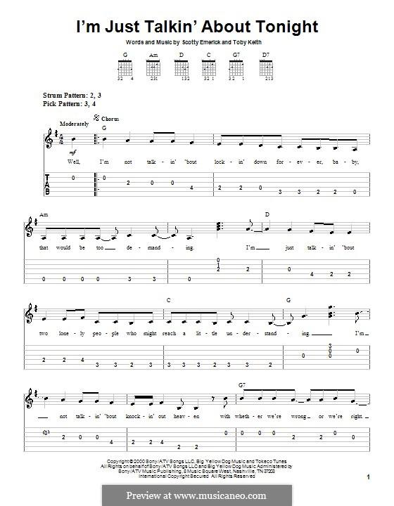 I'm Just Talkin' About Tonight: Für Gitarre (Sehr leichte Fassung) by Scott Emerick