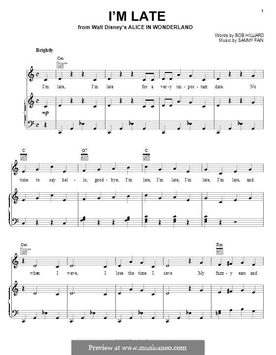 I'm Late: Für Stimme und Klavier (oder Gitarre) by Sammy Fain
