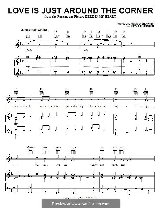Love Is Just Around the Corner (Coleman Hawkins): Für Stimme und Klavier (oder Gitarre) by Leo Robin, Lewis E. Gensler