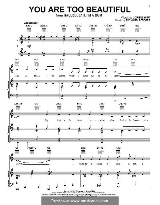 You are too Beautiful: Für Stimme und Klavier (oder Gitarre) by Richard Rodgers