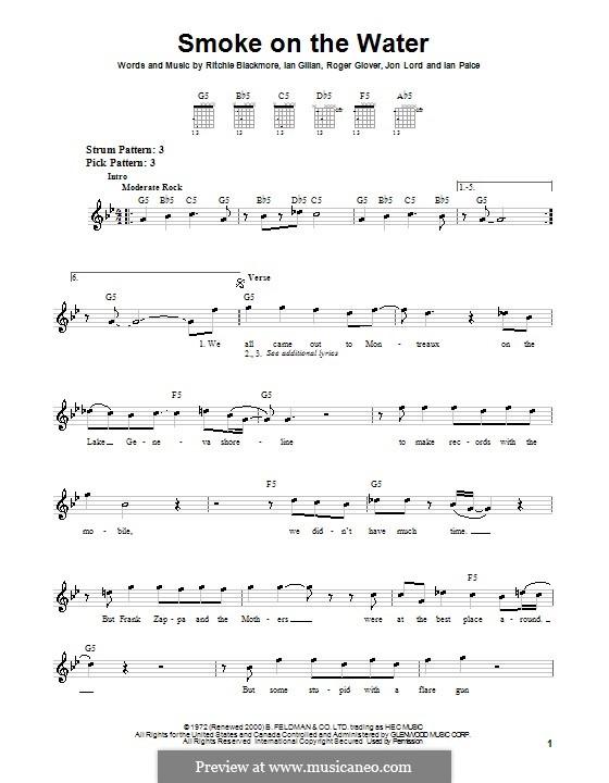 Smoke on the Water (Deep Purple): Für Gitarre (Sehr leichte Fassung) by Ian Gillan, Ian Paice, Jon Lord, Ritchie Blackmore, Roger Glover