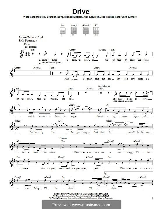 Drive (Incubus): Für Gitarre (Sehr leichte Fassung) by Alex Katunich, Brandon Boyd, Chris Kilmore, Jose Pasillas II, Michael Einziger