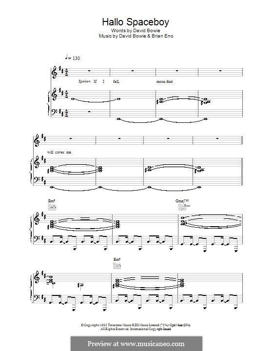 Hallo Spaceboy: Für Stimme und Klavier (oder Gitarre) by Brian Eno, David Bowie