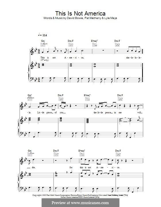 This Is Not America: Für Stimme und Klavier (oder Gitarre) by David Bowie, Lyle Mays, Pat Metheny