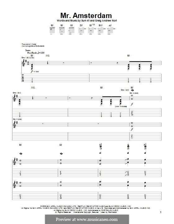 Mr. Amsterdam (Sum 41): Für Gitarre mit Tab by Greig Andrew Nori