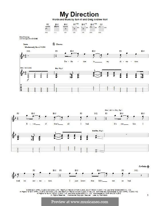 My Direction (Sum 41): Für Gitarre mit Tab by Greig Andrew Nori