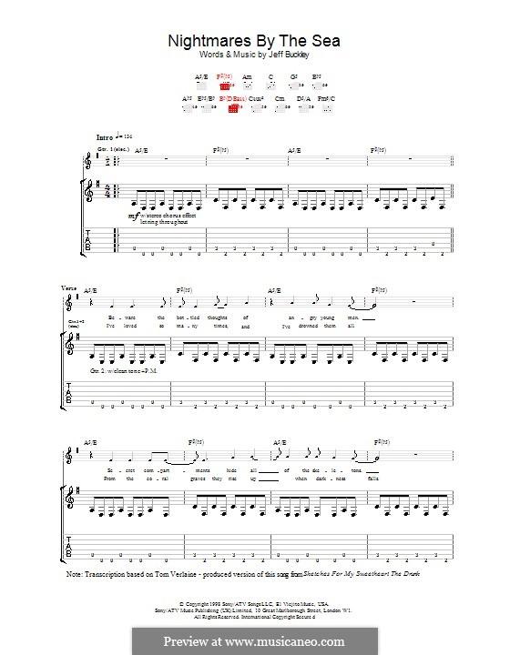 Nightmares By the Sea: Für Gitarre mit Tabulatur by Jeff Buckley