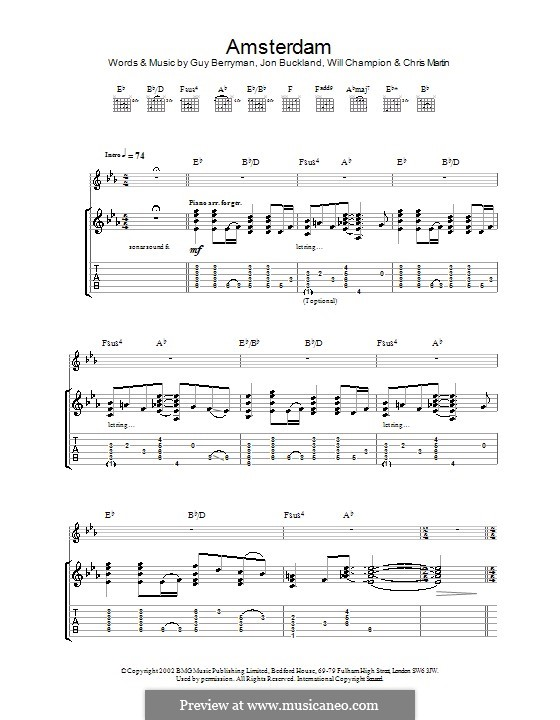 Amsterdam (Coldplay): Für Gitarre mit Tabulatur by Chris Martin, Guy Berryman, Jonny Buckland, Will Champion