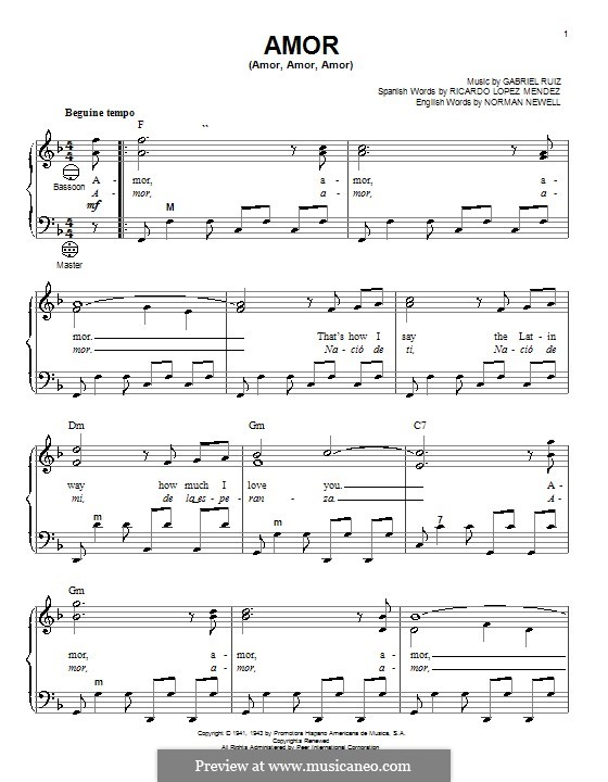 Amor (Amor, Amor, Amor): Für Akkordeon by Norman Newell, Ricardo Lopez Mendez